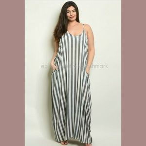Harem Maxi Dress Plus Size Black Ivory Stripe